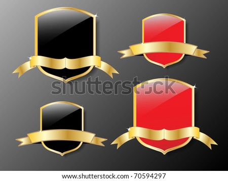 red and black shields with golden frame.