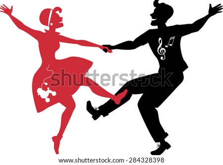red and black silhouettes of a
