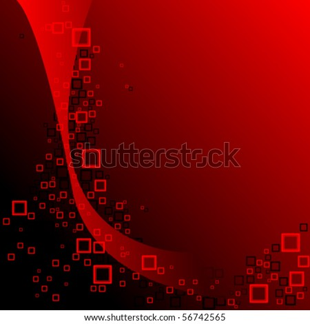 red and black squares composition, abstract vector art illustration