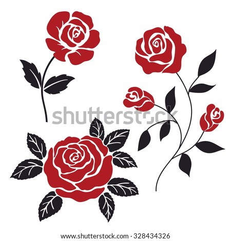 red and black stylization roses