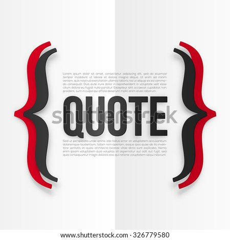 Red and black vector curly brackets with place for your text at white folded paper background