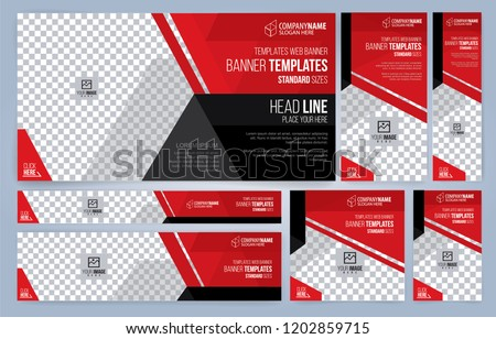 Red and Black Web banners templates, standard sizes with space for photo, modern design #1202859715