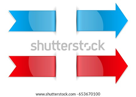 Red and blue arrow stickers with transparent shadow. Vector 3d illustration isolated on white background