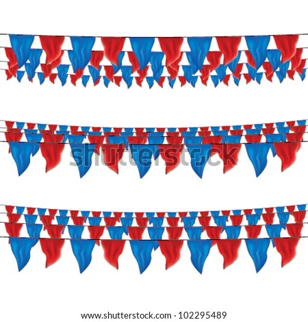 red and blue bunting flags set for july 4th, top view, bottom view - stock vector