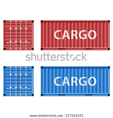 Red and blue cargo container. Stock vector illustration