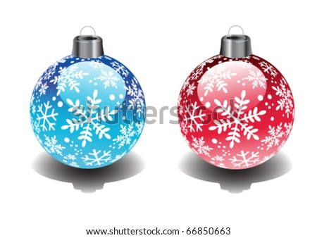 Red and blue christmas baubles