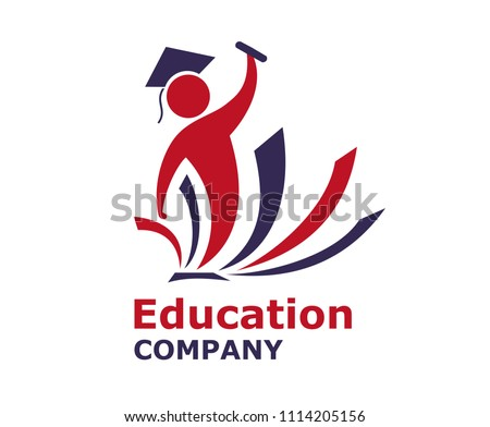 red and blue color book library people student head graduation academic education back to school university design icon illustration logo design concept