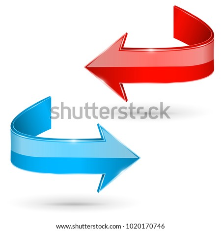 Red and blue 3d shiny arrows. Next web signs. Vector illustration on white background