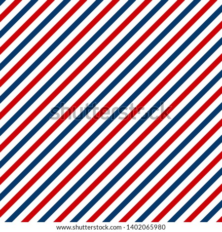 Red and blue diagonal lines seamless pattern abstract. Barbershop vintage texture. EPS 10
