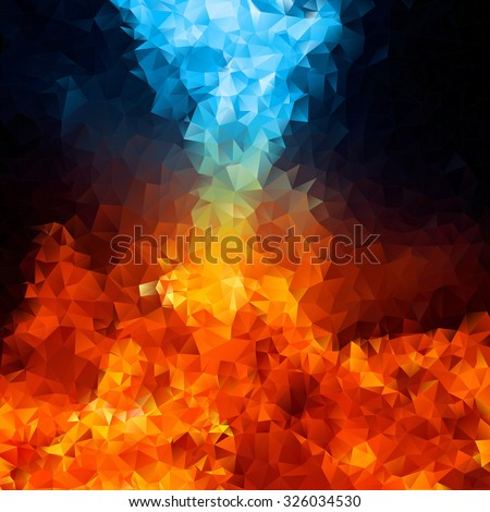 red and blue fire on balck