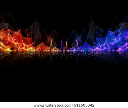 red and blue flames on a black