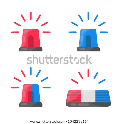 Red and blue flashing light cartoon for Police, ambulance, or Firefighters siren sign. Flat design style. Emergency vehicle lighting clean icon isolated vector