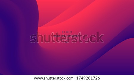 Red and blue fluid wave. Duotone geometric compositions with gradient 3d flow shape. Innovation modern background design for cover, landing page.