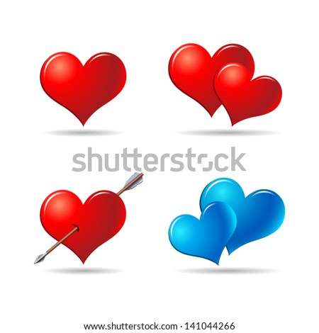 red and blue hearts set 1