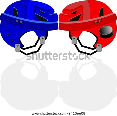 Red and blue hockey helmet