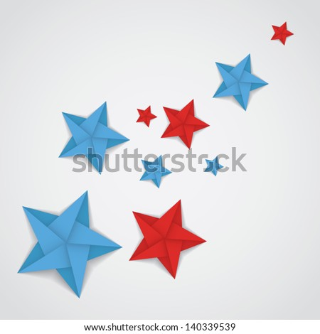 red and blue paper stars in