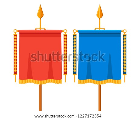 Red and blue Roman Vexillum. Signa militaria. Ancient Roman standard. Flat vector illustration isolated on white background.