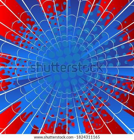 Red and blue spider web cartoon background. Colored comic book illustration, vector comics backdrop.
