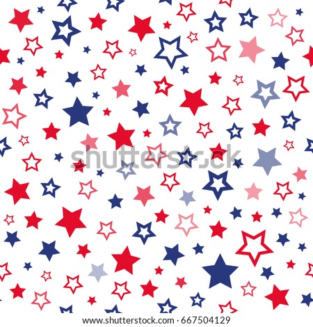Red and blue stars seamless pattern. USA flag background. Vector pattern for gift wrapping paper, fabric print, fourth july card design