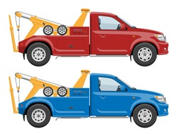 Red and blue tow trucks side view vector template with simple colors without gradients and effects