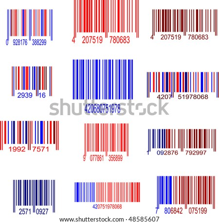 red and blue upc symbol set