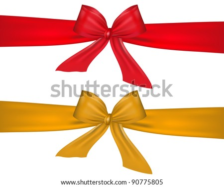 Red and gold bow on white background - stock vector
