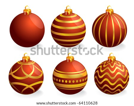 Red and gold Christmas balls. Vector.