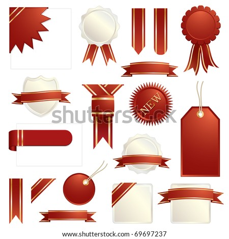 red and gold decorative ribbons, seals and tabs isolated on white