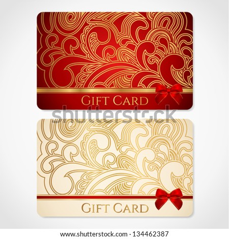 Red And Gold Gift Card Discount Card With Floral Pattern And Red