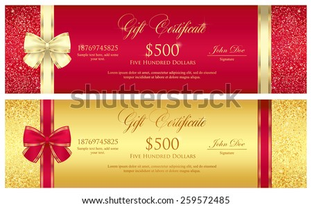 Red and gold gift certificate with borders composed from glitters