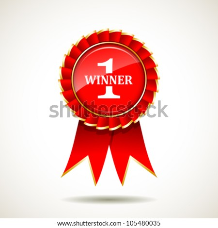 Red and gold the winner ribbon award on background, vector illustration