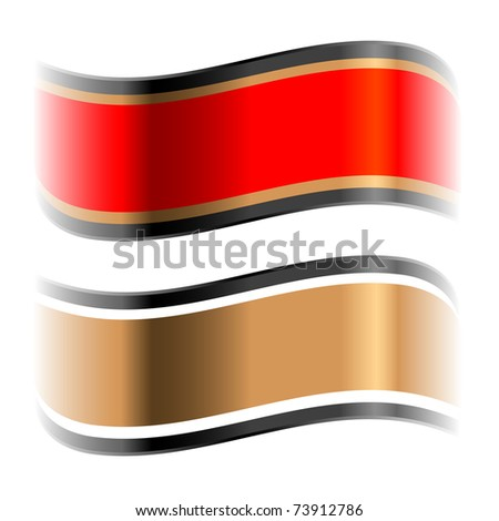red and golden glossy ribbons with space for text