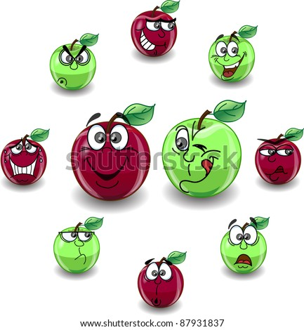 Green Apple Varieties http://www.shutterstock.com/pic-87931837/stock-vector-red-and-green-apple-with-a-variety-of-emotions.html
