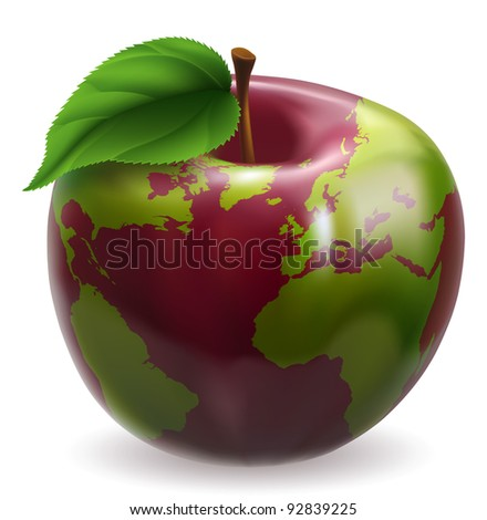 Red and green apple with world globe pattern on skin