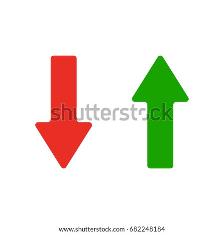 Red and green arrows icon. Vector illustration isolated on white background. Symbols of moving up and down