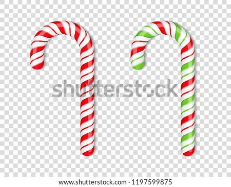 Red and green candy canes on transparent background, vector eps10 illustration
