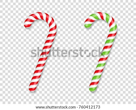 Red and green candy canes with shadows, vector eps10 illustration