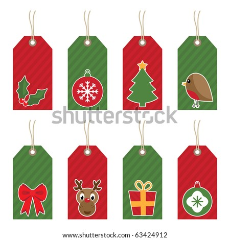 red and green christmas tags with motifs isolated on white