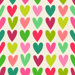 Red and green hand drawn heart pattern background for christmas holidays.