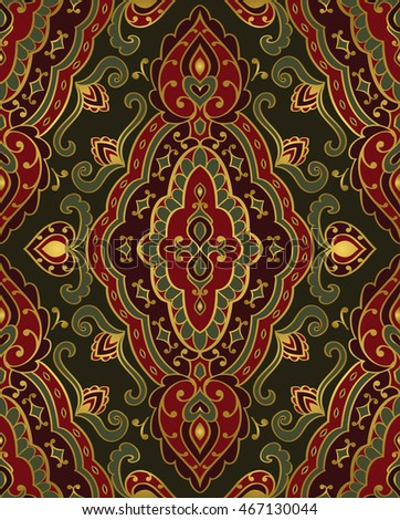 Red and green ornament. Template for oriental carpet, textile, shawl, cover and any surface. Seamless vector pattern of gold contours on a dark background.