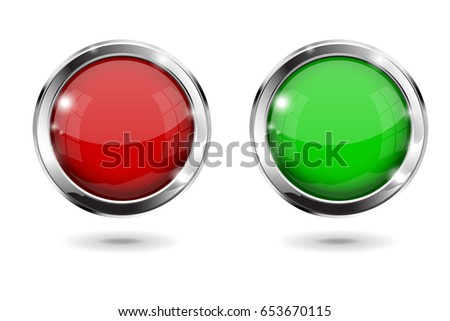 Red and green shiny 3d buttons. Round glass web icons with chrome frame. Vector 3d illustration isolated on white background