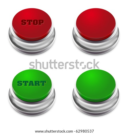 Red and green START/STOP button - vector illustration