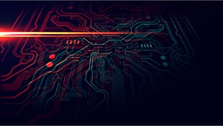 red and green technology circuit board background, Vector Illustration