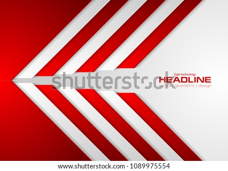 Red and grey abstract corporate geometric background. Vector design