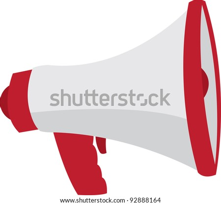 Red and grey megaphone isolated - stock vector