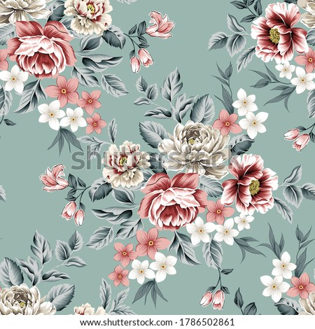 red and grey vector flowers with leaves bunches pattern on green background
