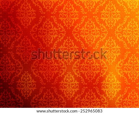 red and orange abstract damask