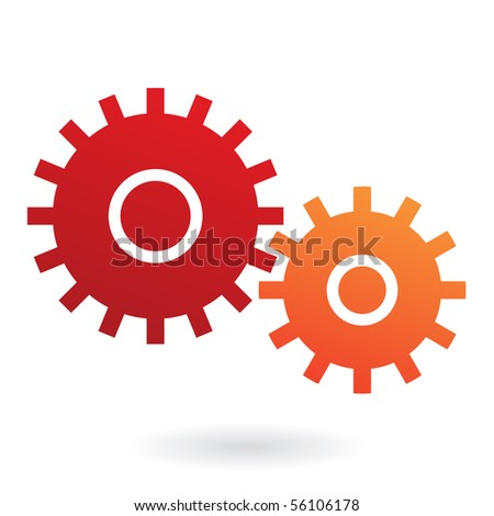 red and orange cogs isolated on
