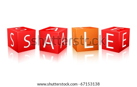 Red and orange cube with sale letters. Vector illustration isolated on white background.