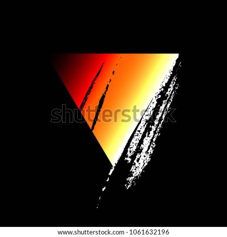 Red and orange torn triangle. Geometric figure. Icon.